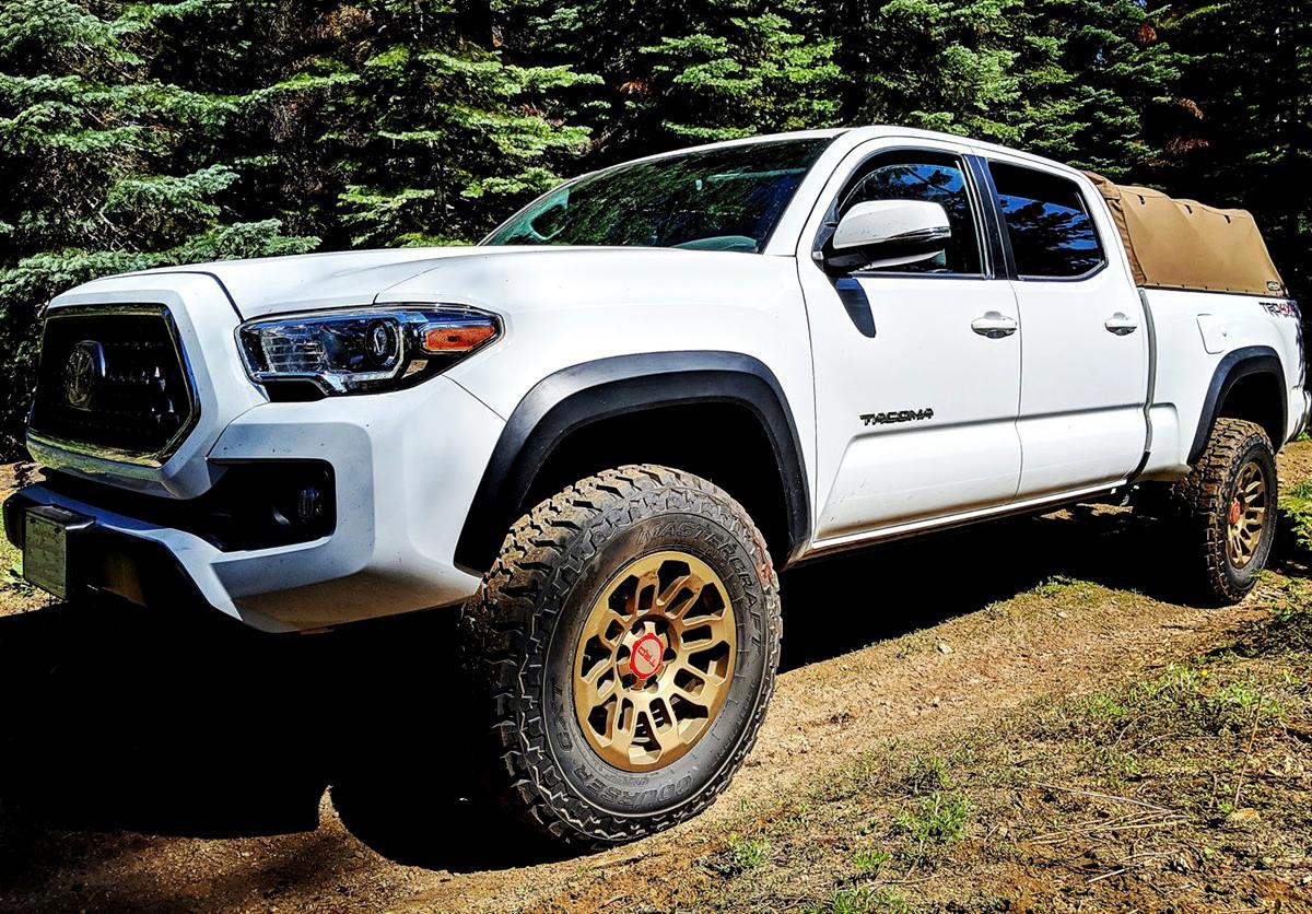 White Toyota Tacoma TRD 1